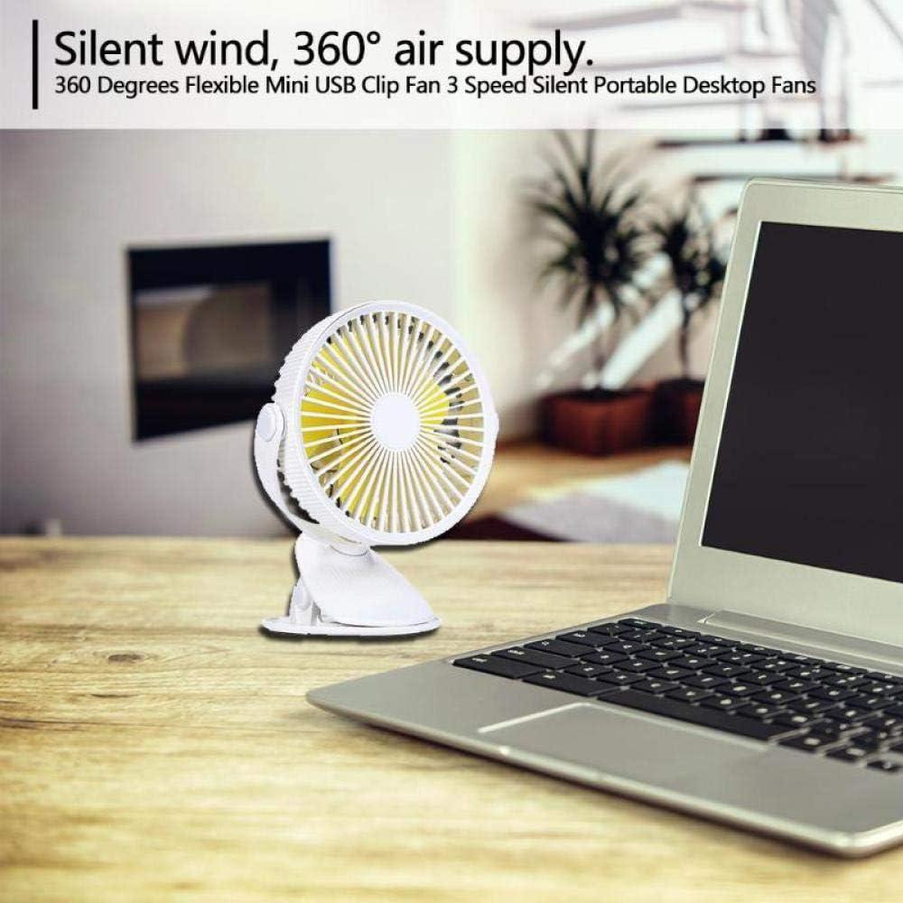 360 Degrees Auto Car Flexible Mini USB Clip Fan 3 Speed Silent Portable Desktop Fans Blue