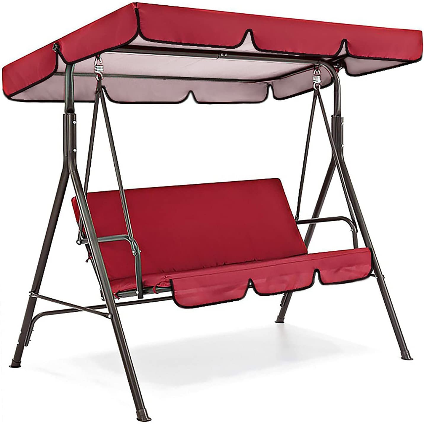 DL&VE Waterproof Patio Swing Replacement Canopy Cover,Adjustable Outdoor Swing Canopy Cover and Cushion Cover,Porch Top Cover for Yard Porch Patio Garden Swing Chair Seat Protection-Red