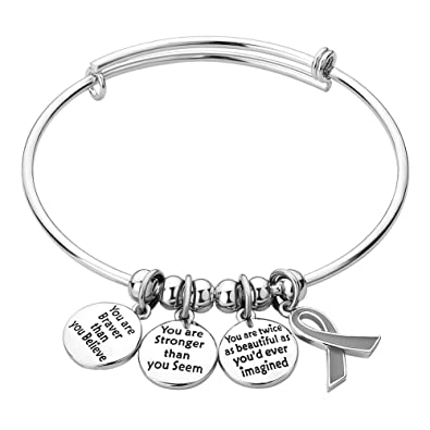 LoEnMe Jewelry Expandable Charm Stainless Steel Engraved Wire Bangle Cancer  Survivor Bracelet