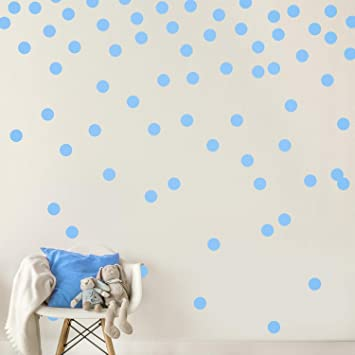 Light Blue Wall Decal Dots (300 Decals) | Easy Peel & Stick + Safe on Walls  Paint | Removable Matte Vinyl Polka Dot Decor | Round Circle Art Glitter ...