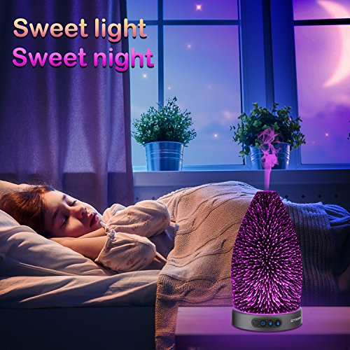 SZTROKIA Essential Oil Diffuser, 300ml Aromatherapy Ultrasonic Cool Mist Humidifier, 3D Effect Colorful Changing LED Night Lights and Waterless Auto Shut-off, Durable Metal Base