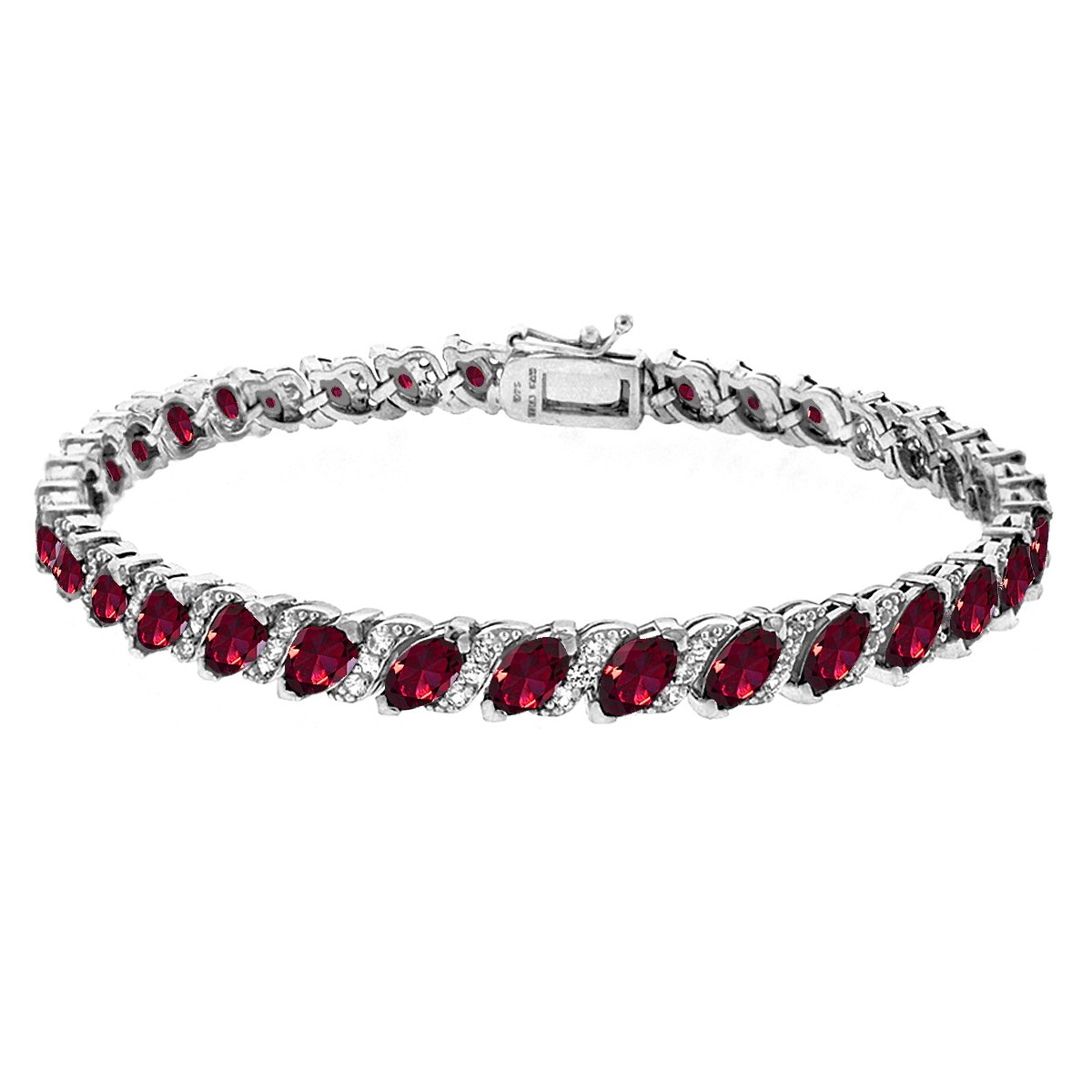 GemStar USA Sterling Silver Created Ruby Marquise-Cut Tennis Bracelet with White Topaz Accents by GemStar USA (Image #1)
