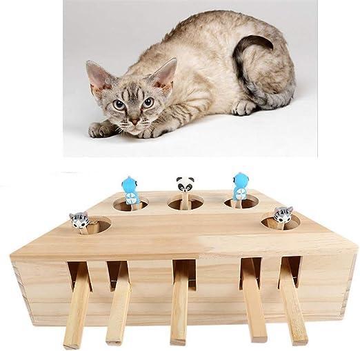 Juguete para Gato Mascota, ratón Interactivo de Madera sólida Whack A Mole Mouse Atrapa el Juego Juguete de Ejercicio con Lindos Juguetes de Dibujos Animados,5holes: Amazon.es: Hogar