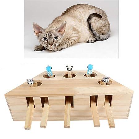 Juguete para Gato Mascota, ratón Interactivo de Madera sólida ...