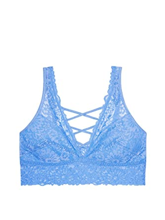 5969684fec4ae Victoria s Secret PINK Unlined Wildflower Lace-Up Plunge Bralette Deep Sky  Blue (Medium)