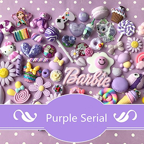 AMOBESTER MIX Candy Flower DIY Craft Decoden Charms Flatback 50Psc Violet Purple Serial by AMOBESTER