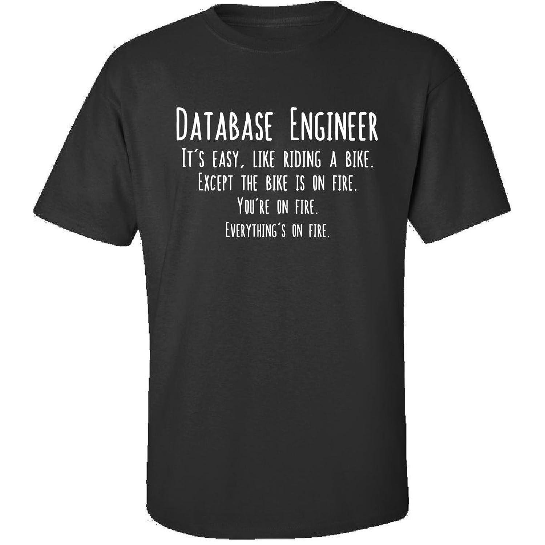 Database Engineer Is Easy Like Riding Bike On Fire Funny Job - Adult Shirt