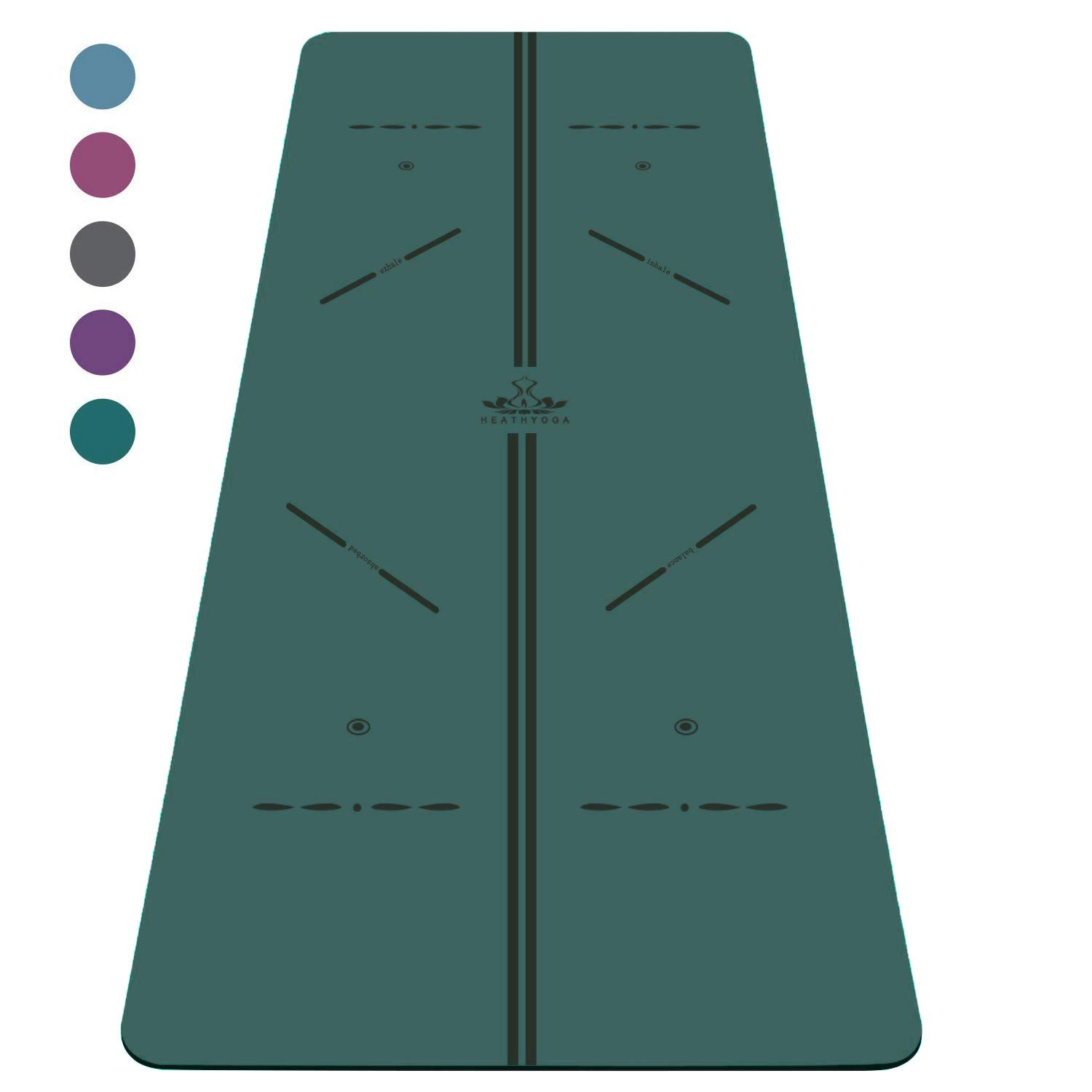 Heathyoga ProGrip Non Slip Yoga Mat with Alignment Lines, Revolutionary Wet-Grip Surface & Eco Friendly Material, Perfect for Hot Yoga and Bikram, Free Carry Bag 72''X26'' (Green) by Heathyoga