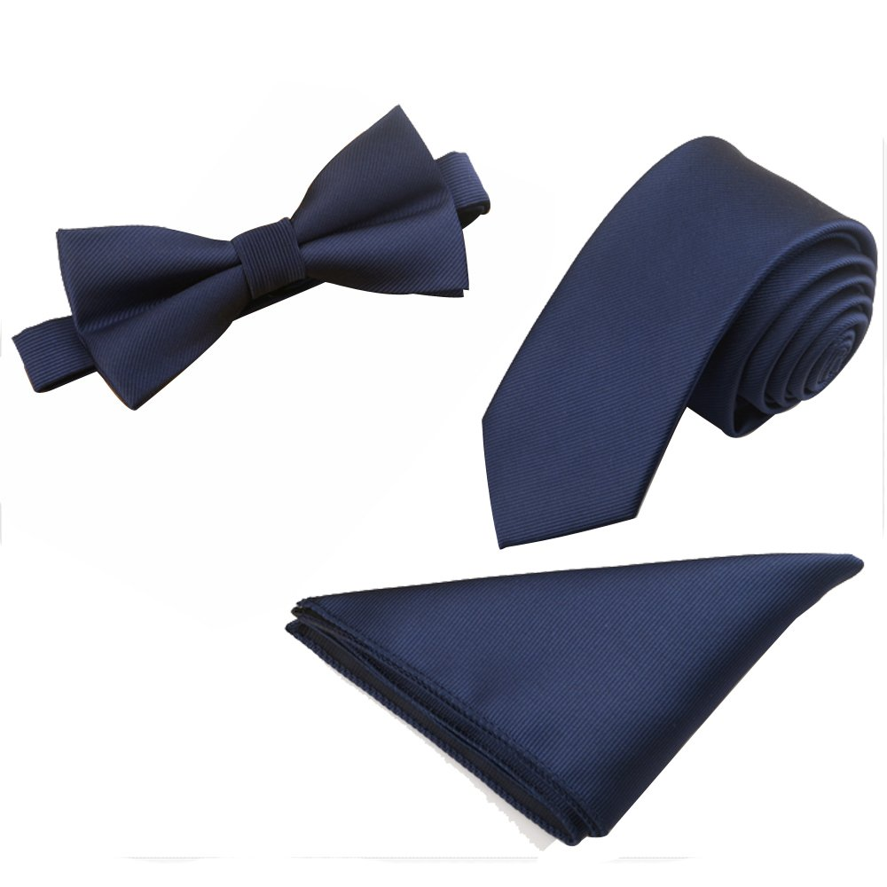 Mens Skinny 2.4'' Neck Tie Bow Tie Pocket Square Handkerchief 3pcs Set (Navy Blue)