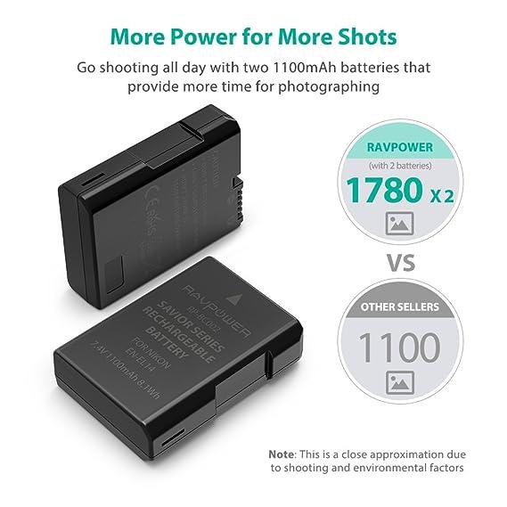 EN-EL14 EN EL14A RAVPower Battery Charger and 2-Pack Rechargeable Li-ion Batteries Compatible with Nikon D5600 D3300 D3500 D5100 D5500 D3100 D3200 ...