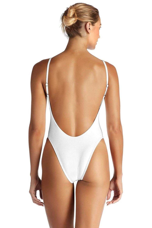 e66038d7f81 Vitamin A Women's White EcoRib Yasmeen Maillot Teeny Cut One Piece Swimsuit  at Amazon Women's Clothing store: