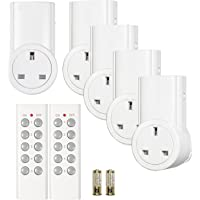 Etekcity Wireless Remote Control Sockets Programmable Electrical Plug Outlet Switch, Lights, Household Appliances, up to 30m/100ft Operating Range, White