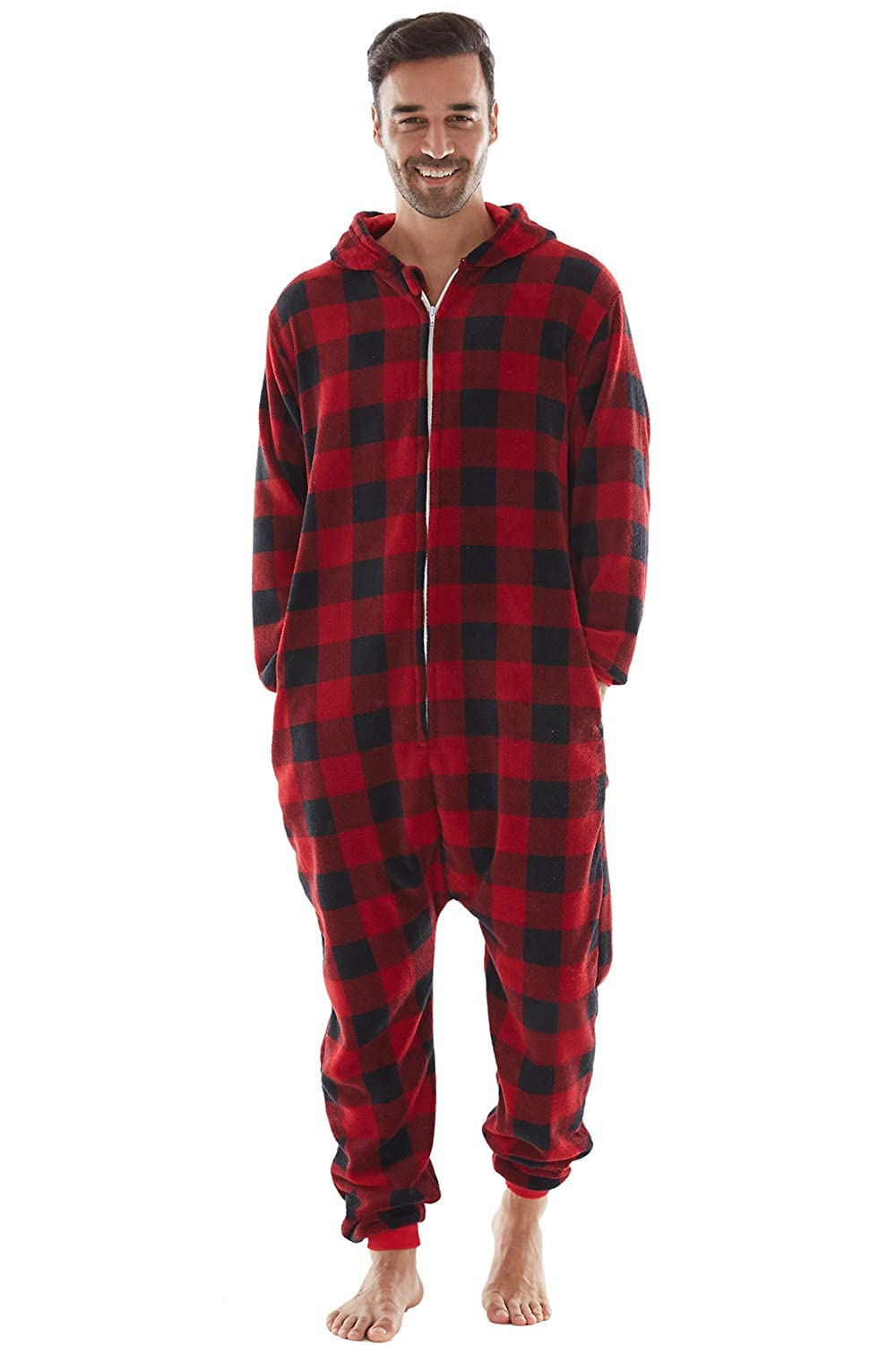 Kids Baby Family Pajamas Matching Sets Drop Seat Onesie Hooded Zip Up Buffalo Plaid One Piece PJs for Couples Pets