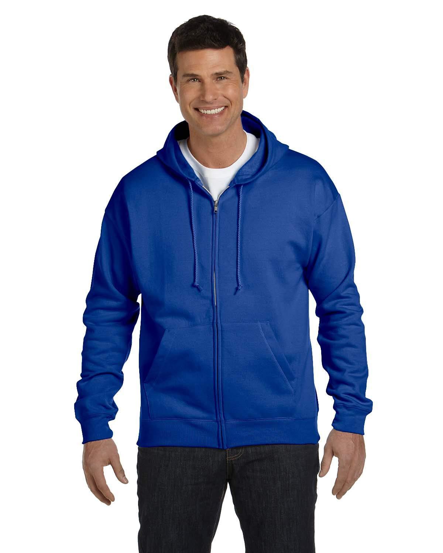 Hanes Men's Full-Zip EcoSmart Fleece Hoodie Serac Blue Medium
