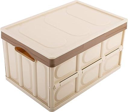 MoKo Caja de Almacenamiento Plegable, Contenedor de Plástico 30L Almacenaje Plegable Organizador con Tapa Adjunta para Oficina/Hogar/Habitación - Khaki: Amazon.es: Oficina y papelería
