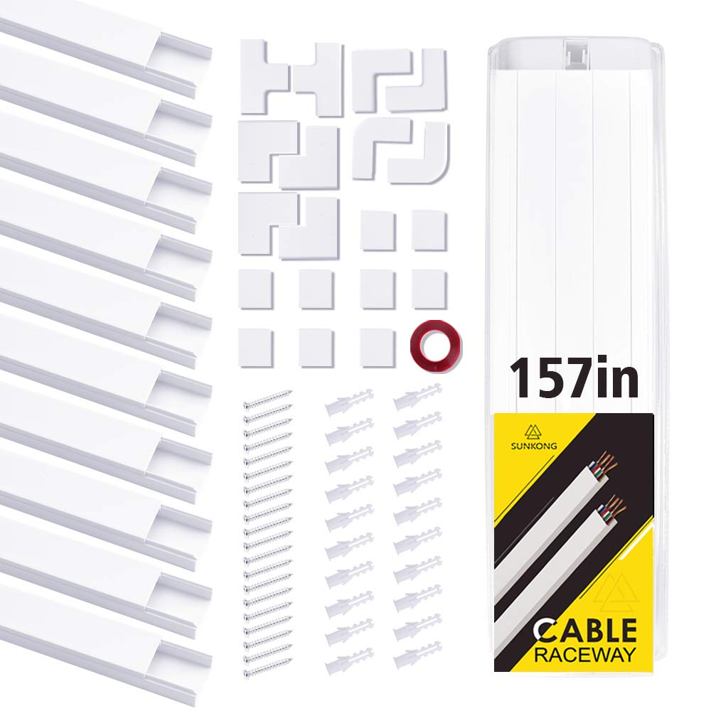 Cable Management, 15.75'' 10pcs Cable Raceway SUNKONG All-Inclusive Cord Organizer for TV/Computer/Others at Home or Office, Easy-to-Install Cord Cover