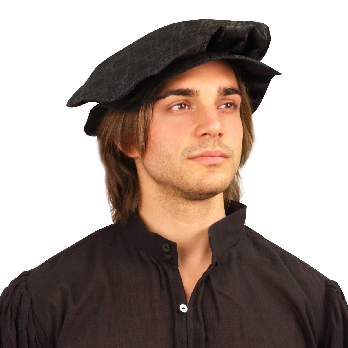 Men's Tudor Black Brocade Flat Renaissance Cap