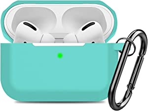 Compatible AirPods Pro Case Cover Silicone Protective Case Skin for Apple Airpod Pro 2019 (Front LED Visible) Turquoise