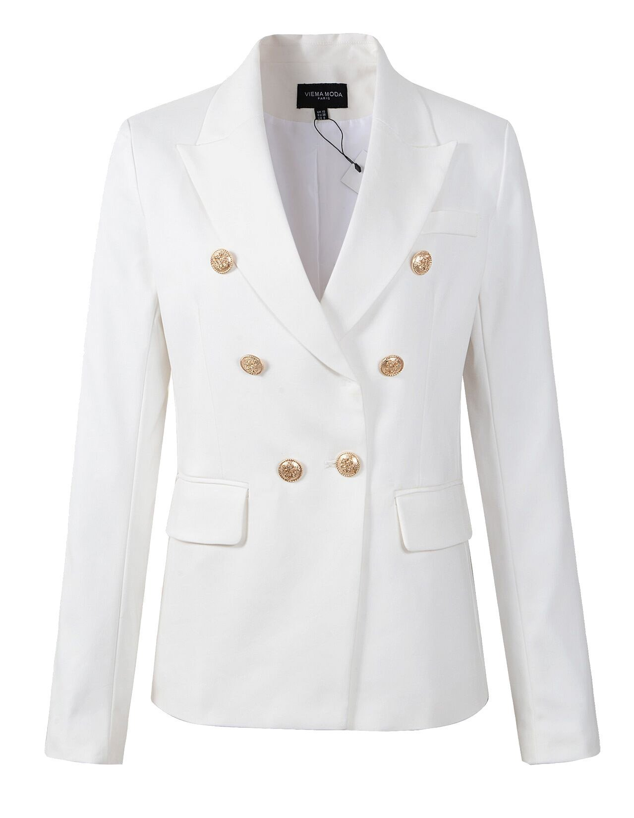 VIEMA MODA Womens Double Breasted Military Style Blazer Ladies Coat Jacket (US6, White)