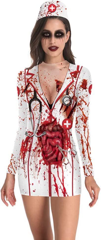 FENICAL Disfraz de Disfraz de Enfermera sangrienta de Halloween ...