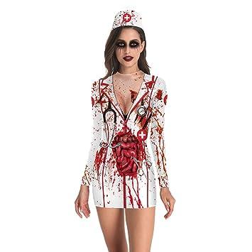 FENICAL Disfraz de Disfraz de Enfermera sangrienta de ...