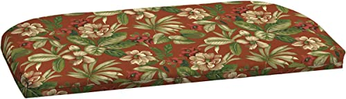Outdoor Patio Settee Bench Cushion 49″ L x 20″ W x 2.25″ H. Polyester Fabric Red Tropical