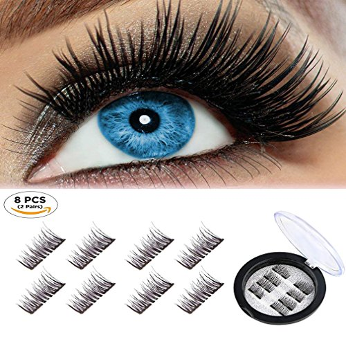 Beatife Magnetic False Eyelashes Fake Lashes Extension, 3D Black Dual Magnets Ultra Thin Soft, Glamorous, Natural Look, No Glue, Handmade Reusable Eyelashes (Black) -8Pcs