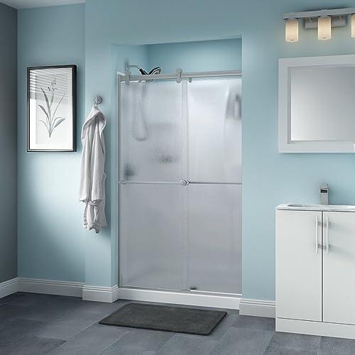 Delta Shower Doors SD3276523 Linden 48 x 71 Semi-Frameless Contemporary Sliding Glass Shower Door in Bronze with Niebla Glass