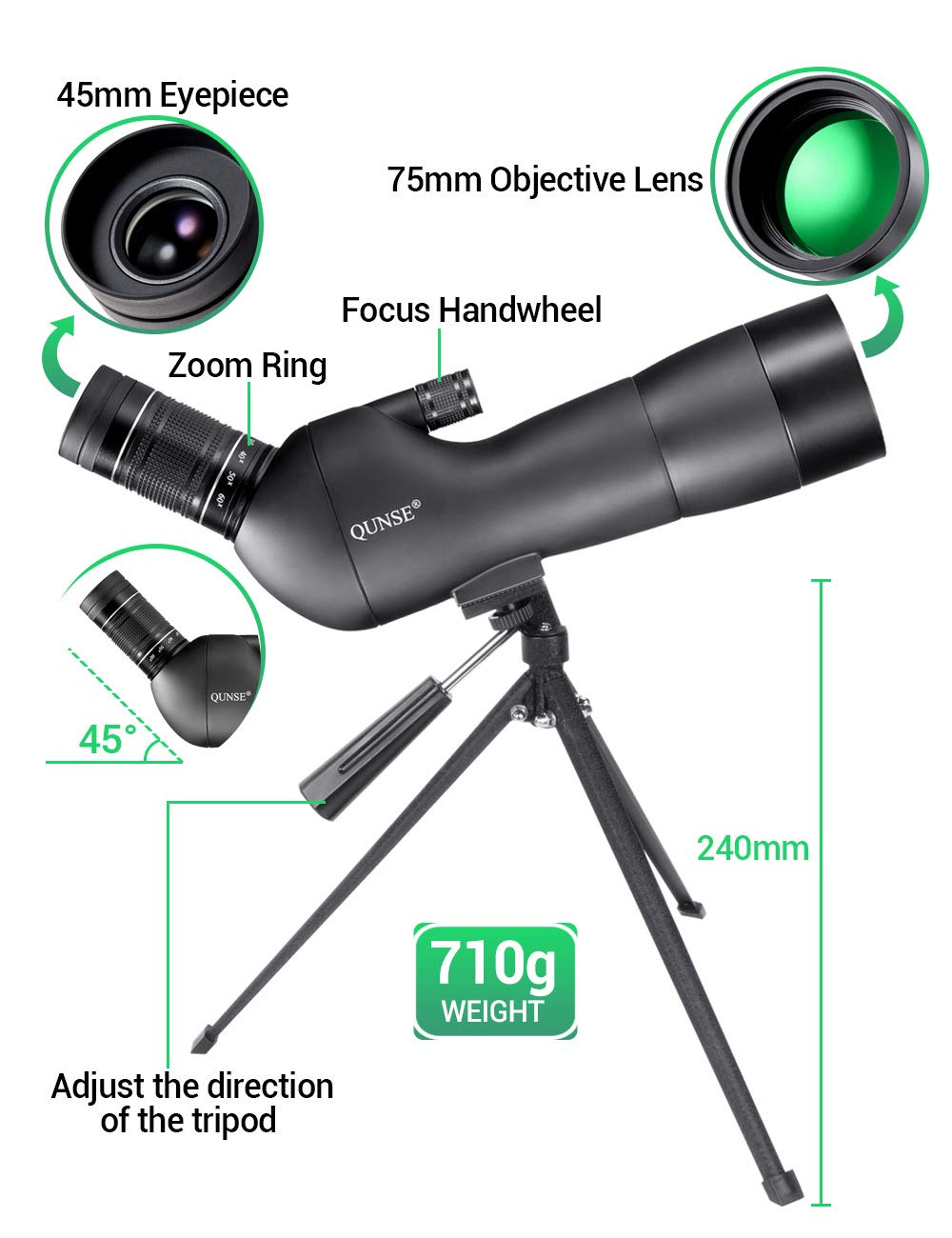 20-60X60 Zoom Multilayer Coating Optical Lens Bird Watching with Broad Horizon QUNSE Spotting Scope Animals and Outdoor Activities Perfectly for Observing Birds