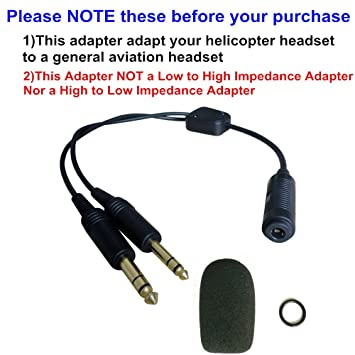 edfb78ad7b1 Helicopter to General Aviation Headset Adapter UFQ  Amazon.in  Electronics