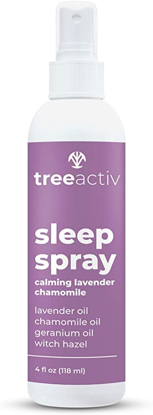 TreeActiv Sleep Spray, Calming Lavender Chamomile, Pillow and Sheet Spray with Fragrant Essential Oil Blend for Sleeping and Relaxation, Soothing Pillow Mist 4 fl oz (118ml)