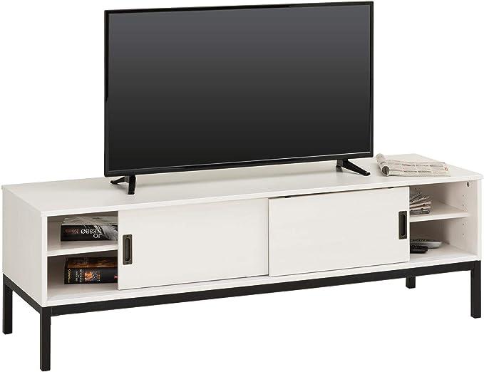 IDIMEX – Mueble TV Selma banco Televisión Estilo Industrial Design Vintage con 2 puertas correderas y 3 secciones) con estante, madera de pino maciza barnizada color blanco: Amazon.es: Hogar