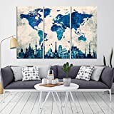 BLue World Map Canvas Print, Wonder of World Map Push Pin Canvas Print, Large Wall Art World Map Push Pin Canvas Print