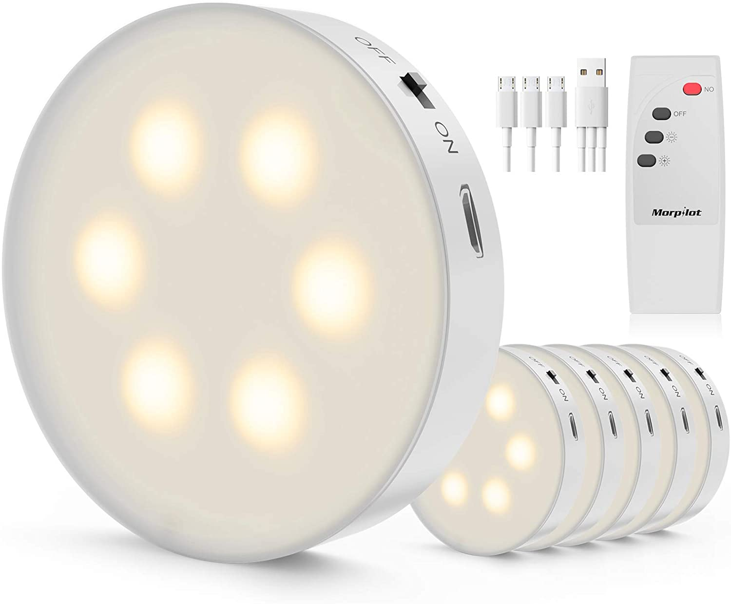 Morpilot Puck Lights, Rechargeable Under Cabinet Lighting, Dimmable Closet Lights Battery Powered, Led Cabinet Light with Wireless Remote, Under Counter Light for Kitchen, Stick on Lights (6 Packs)