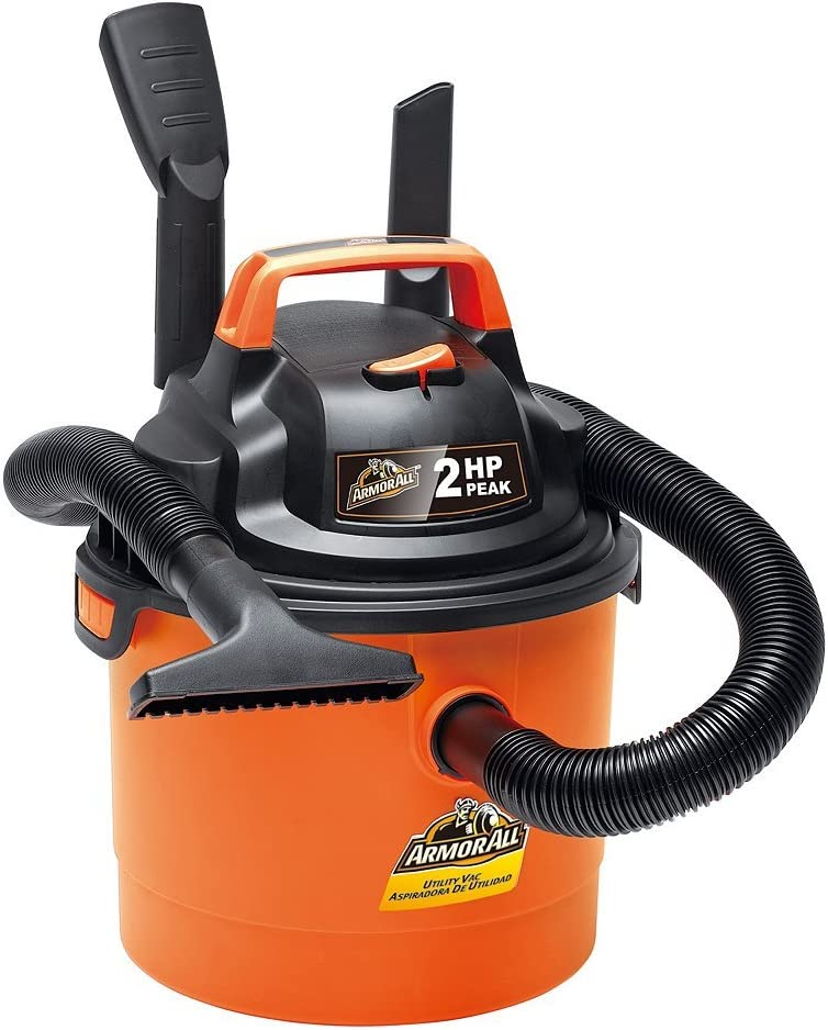 "Armor All - 2.5 Gallon 2 HP 1-1/4"" Hose, Portable Wall Mountable Wet/Dry Utility Vac (VOM205P0901)"
