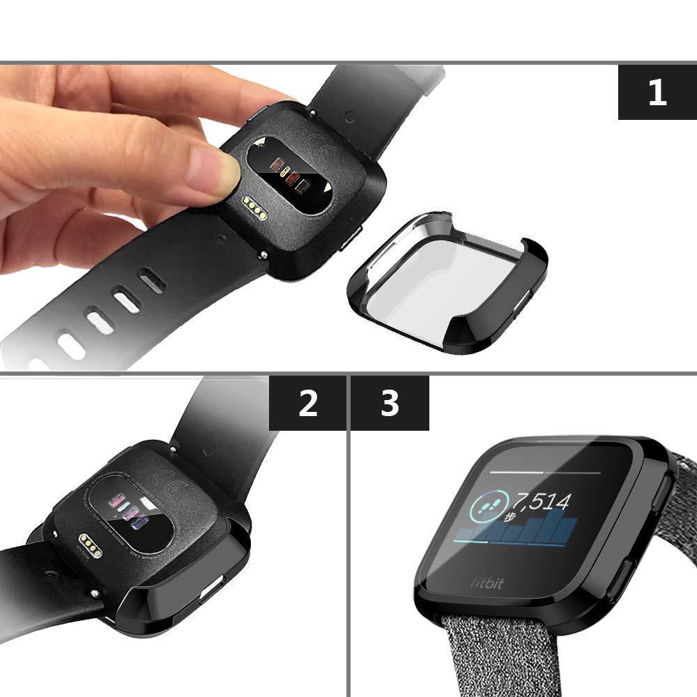 Transparente XIHAMA Funda Protectora de Pantalla para Fitbit Versa 2pcs Cubierta Protector PC Cobertura Completa Carcasa de Antichoque Compatible con Fitbit Versa