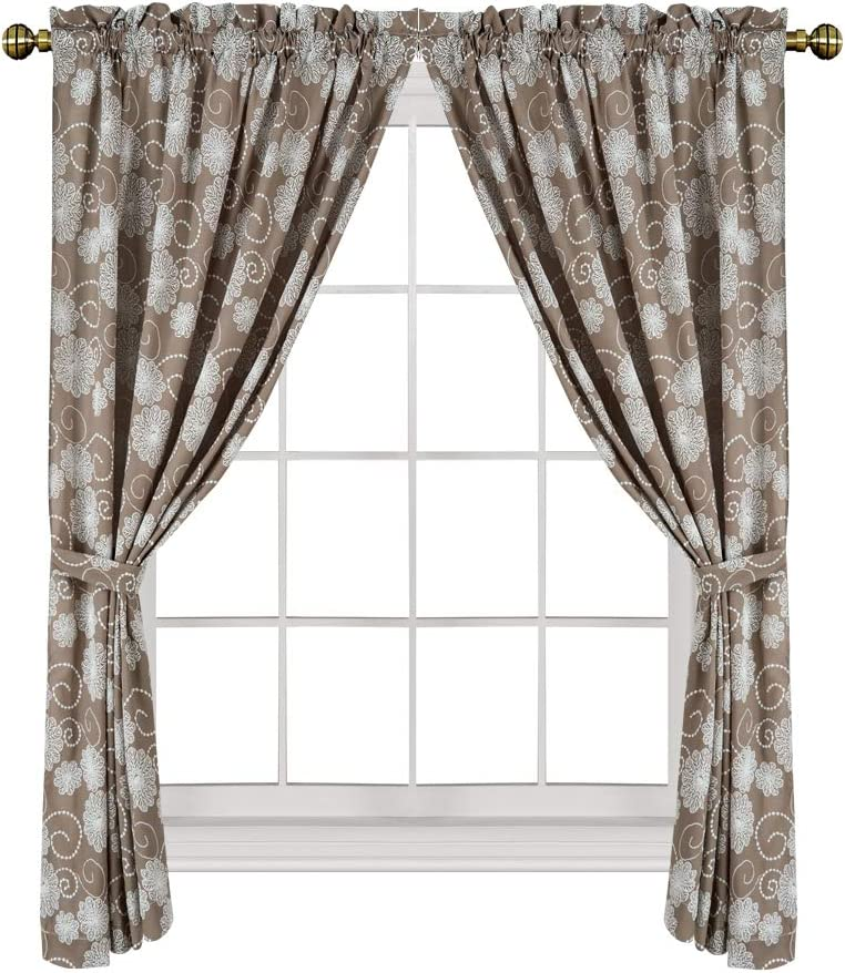 Valea Home Rod Pocket Soft Window Curtains with Decorative Floral Embossment Short Curtains for Bedroom and Living Room 54 inch Length with Bonus tiebacks, Brown, 2 Panels