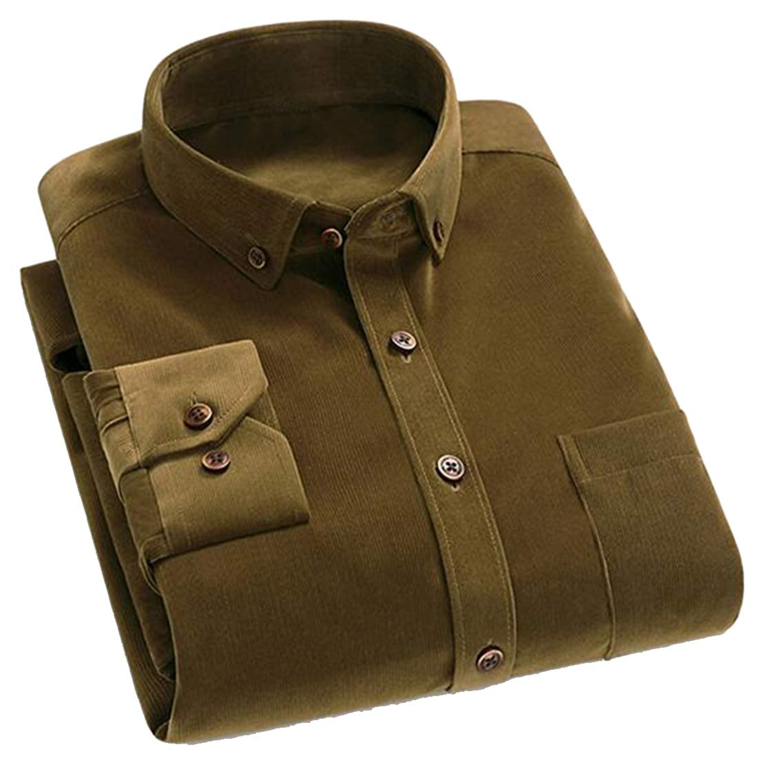 YYG Mens Corduroy Button Up Solid Casual Long Sleeve Dress Work Shirt