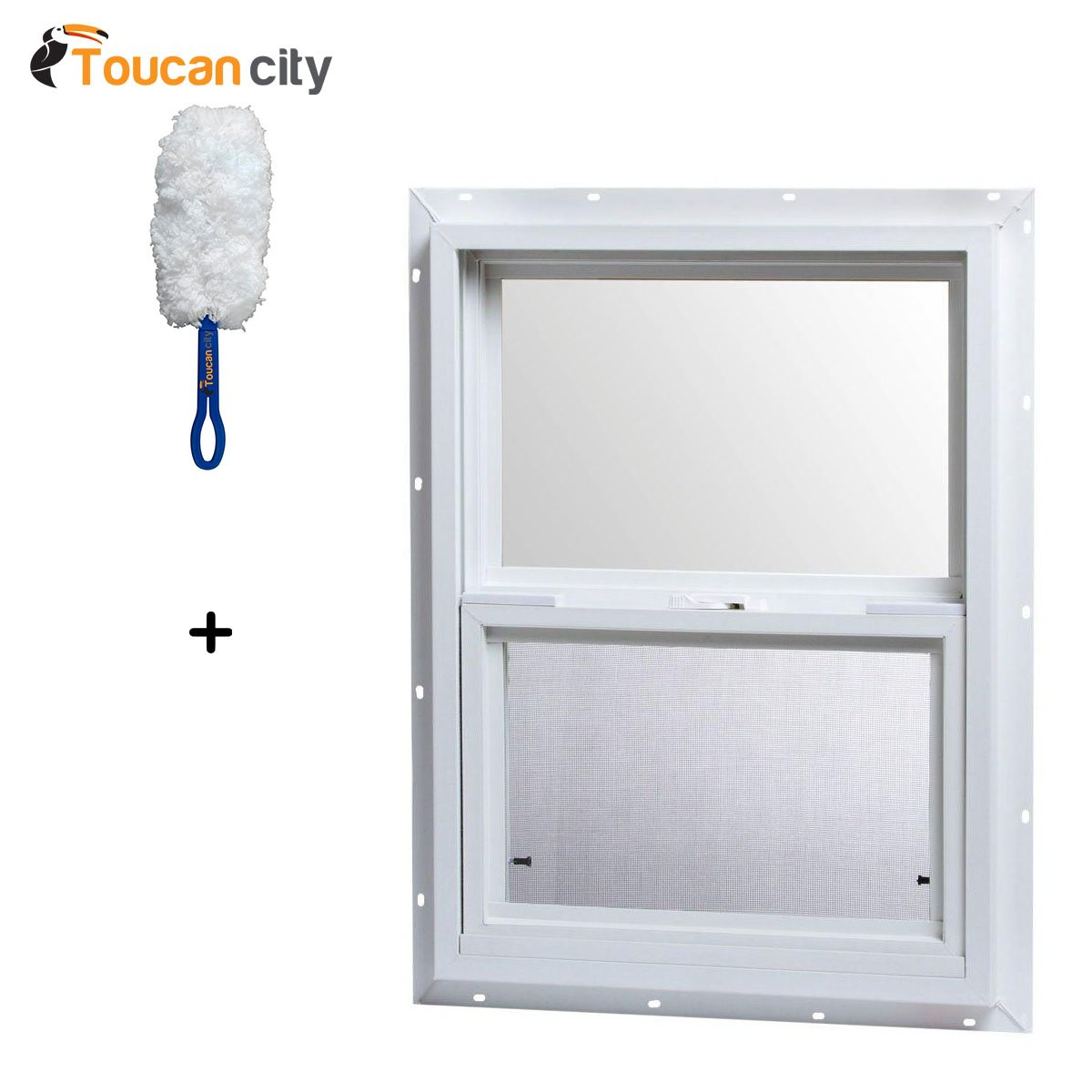 Toucan City Microfiber Dash Duster and TAFCO Windows 18 in. x 24 in. Single Hung Vinyl Window - White VSH1824OP