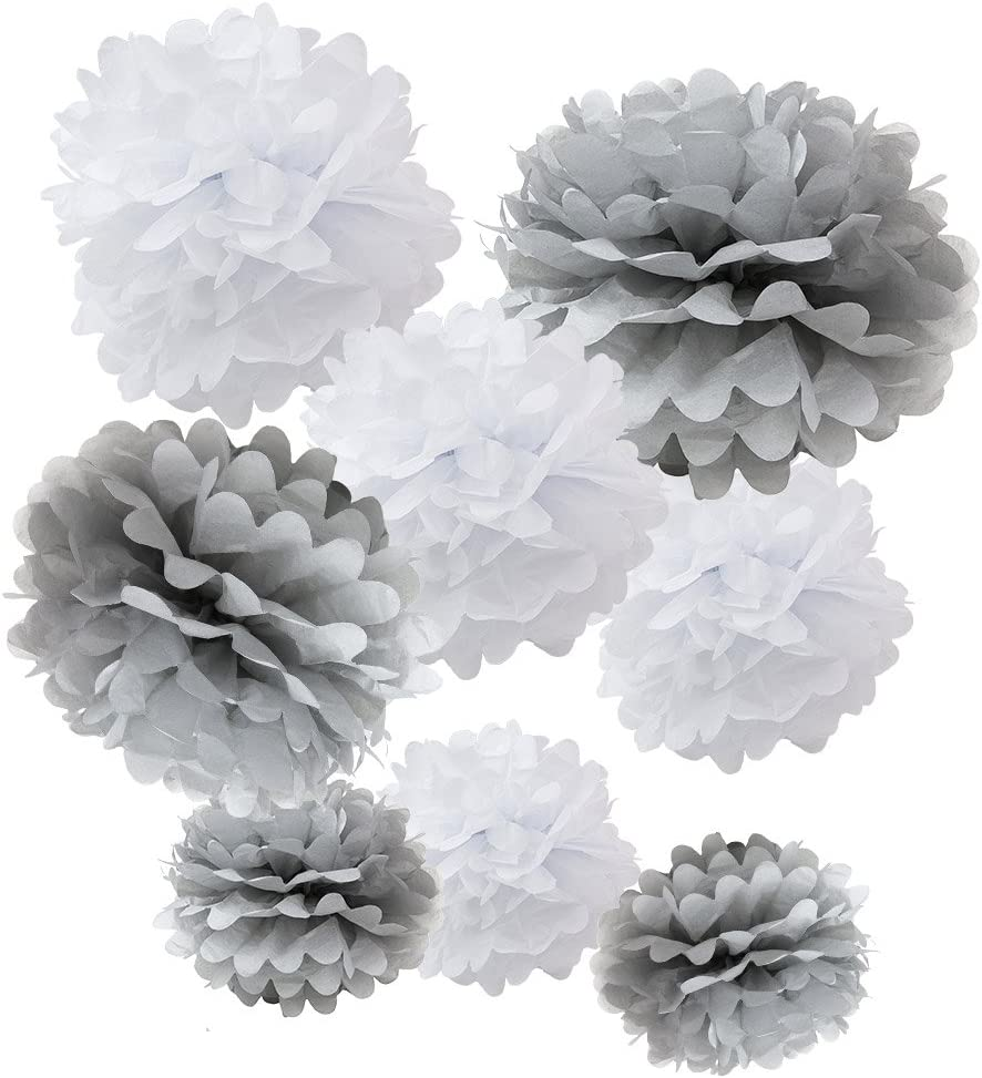 """WYZworks Set of 8 (Assorted White/Grey Pack) 8"""" 10"""" 12"""" Tissue Pom Poms Flower Party Decorations for Weddings, Birthday, Bridal, Baby Showers Nursery Décor"""
