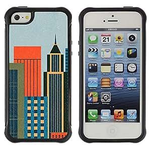 LASTONE PHONE CASE / Suave Silicona Caso Carcasa de Caucho Funda para Apple Iphone 5 / 5S / Minmalist Cityscape