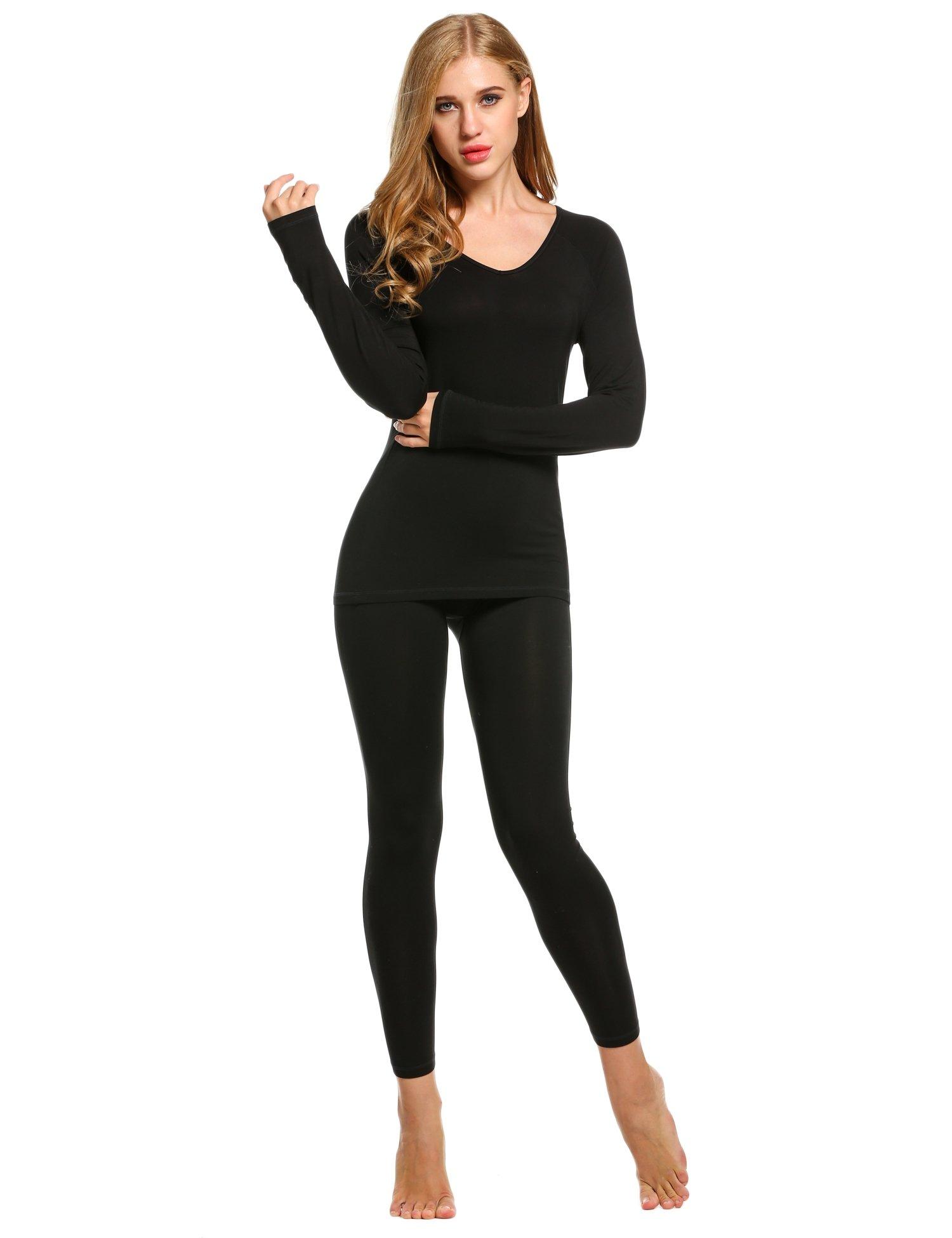 Ekouaer Women Thermal Underwear Set Solid V-Neck Long Sleeve Top and Long Pants Bottom Sleepwear by Ekouaer (Image #2)
