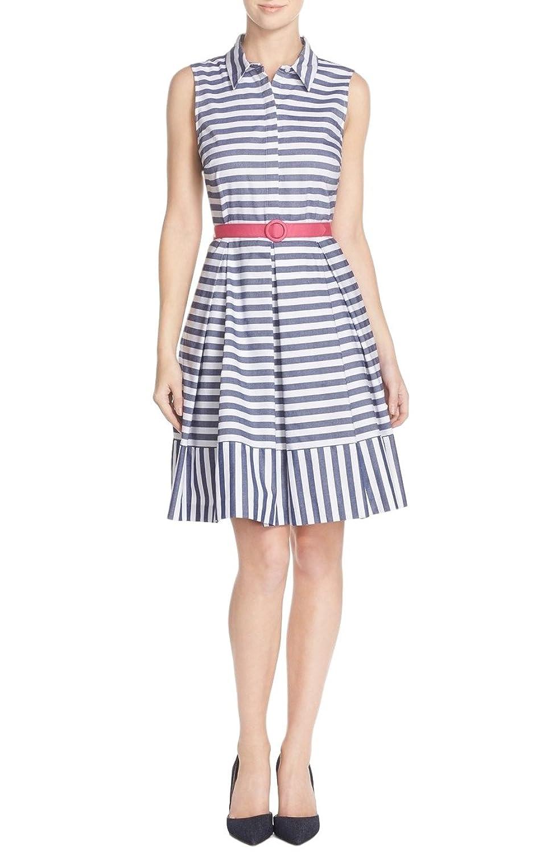 Eliza J Blue Stripe Cotton Fit & Flare Shirtdress Size 12