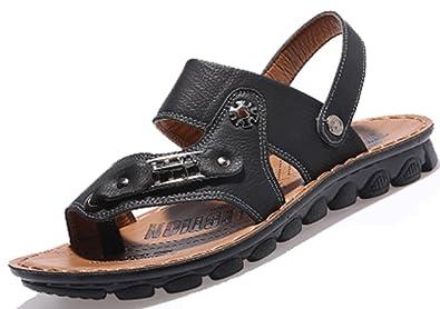 b390e2b19e0b Respeedime Men s Casual Sandals Round Toe Beach Shoes Leather Slippers  Black ...