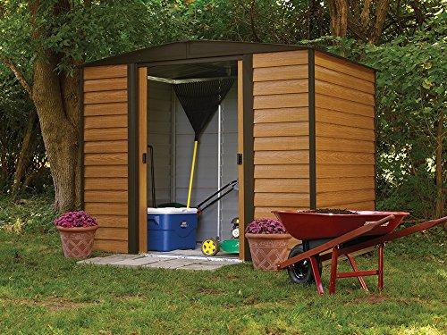 Garden and Outdoor Arrow Shed WR86 Arrow Woodridge Low Gable Steel, Coffee/Woodgrain 8 x 6 ft. Storage Shed outdoor storage sheds