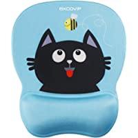 Excovip - Almohadilla para mouse de gel de apoyo para muñeca, Blue Smiling Cat Pad