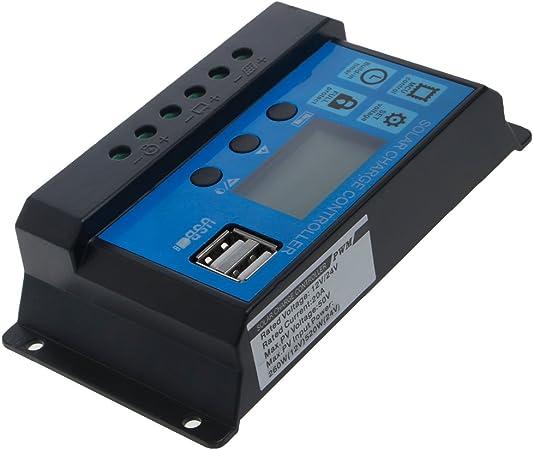 10//20//30A Panneau PWM solaire Contrôleur de charge Régulateur Dual USB 12V//24V