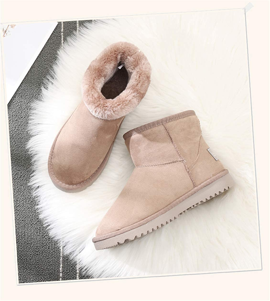 HZMY Womens Winter Resistant Snow Warm Boots Gift Fashion Christmas Buckskin Short Boots