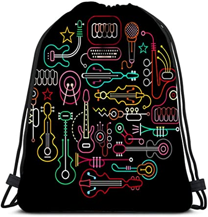 Drawstring Backpack Neon Colored Gym Bag