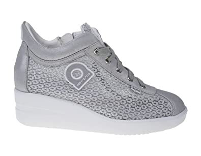 226 A Sneakers Damen Leder/textil Silber Silber 40 Agile by rucoline YVpM6Ppi